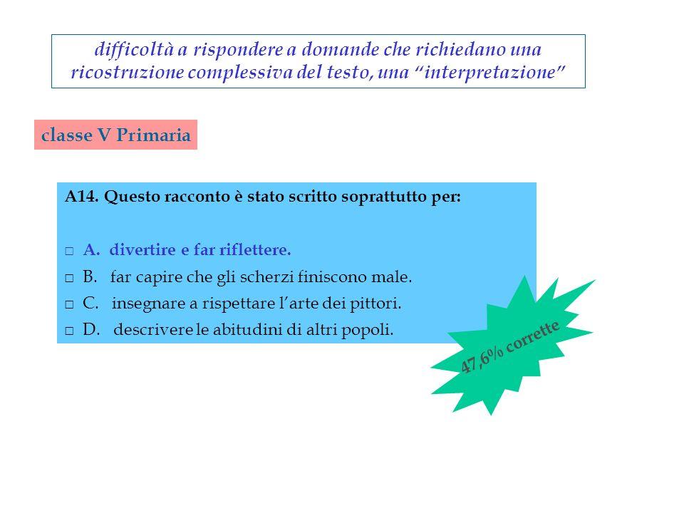 classe V Primaria difficoltà a rispondere a domande che richiedano una ricostruzione complessiva del testo, una interpretazione A14.Questo racconto è