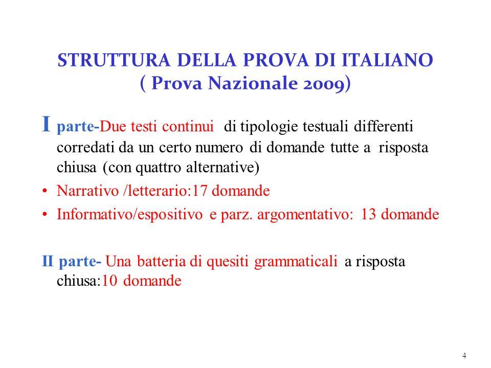 STRUTTURA DELLA PROVA DI ITALIANO ( Prova Nazionale 2009) I parte-Due testi continui di tipologie testuali differenti corredati da un certo numero di