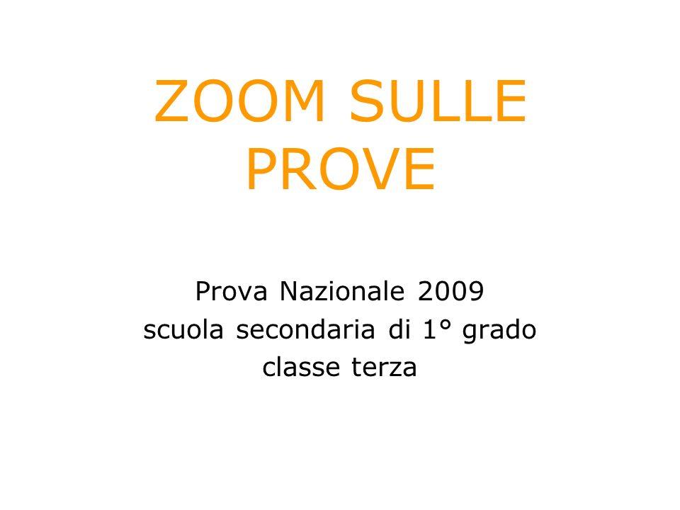 ZOOM SULLE PROVE Prova Nazionale 2009 scuola secondaria di 1° grado classe terza