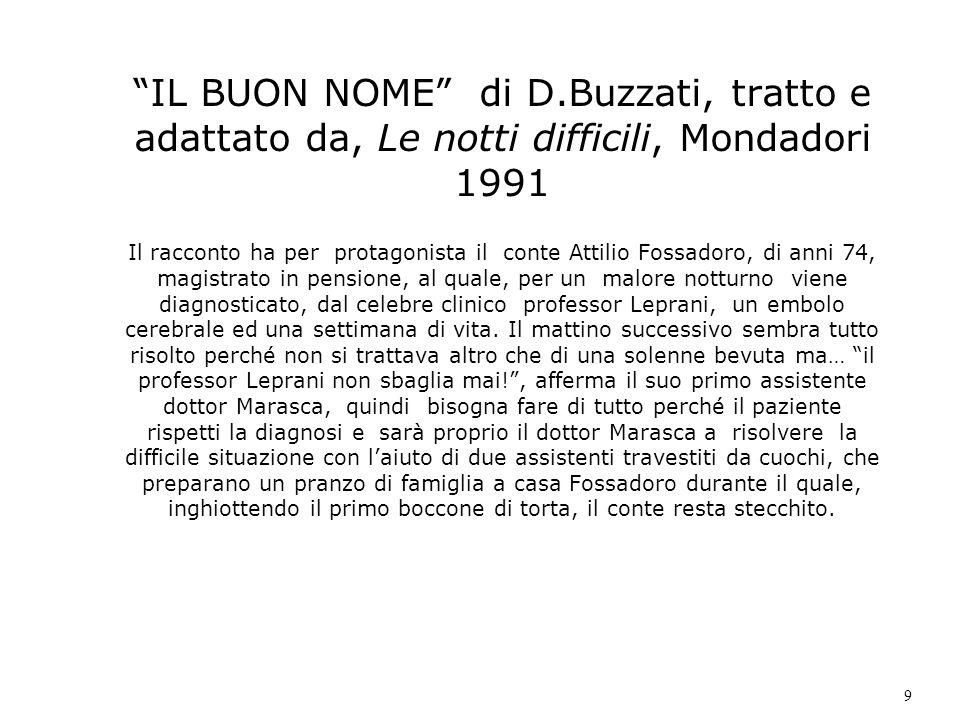 IL BUON NOME di D.Buzzati, tratto e adattato da, Le notti difficili, Mondadori 1991 Il racconto ha per protagonista il conte Attilio Fossadoro, di ann