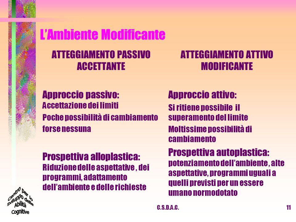 C.S.D.A.C.11 LAmbiente Modificante ATTEGGIAMENTO PASSIVO ACCETTANTE Approccio passivo: Accettazione dei limiti Poche possibilità di cambiamento forse