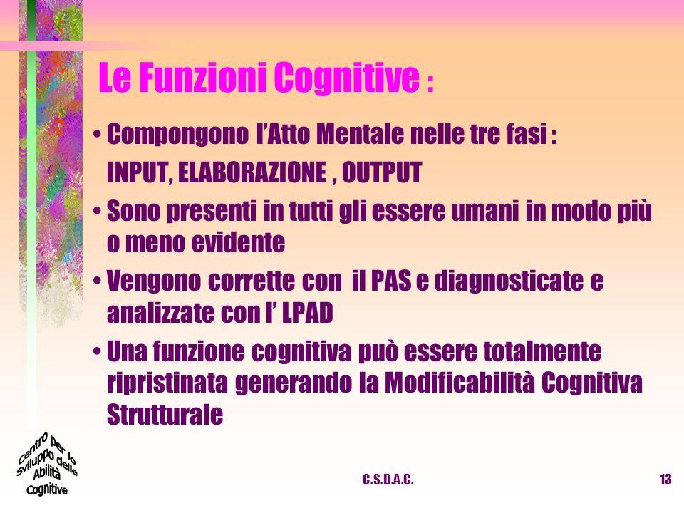 C.S.D.A.C.13 Le Funzioni Cognitive : Compongono lAtto Mentale nelle tre fasi : INPUT, ELABORAZIONE, OUTPUT Sono presenti in tutti gli essere umani in