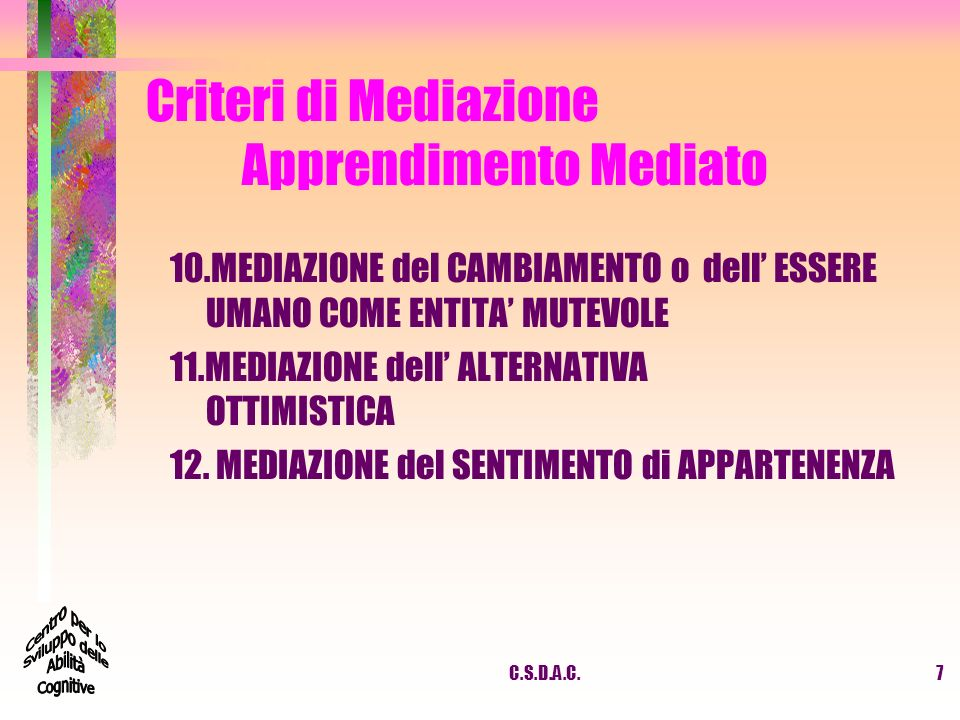 C.S.D.A.C.7 Criteri di Mediazione Apprendimento Mediato 10.MEDIAZIONE del CAMBIAMENTO o dell ESSERE UMANO COME ENTITA MUTEVOLE 11.MEDIAZIONE dell ALTE
