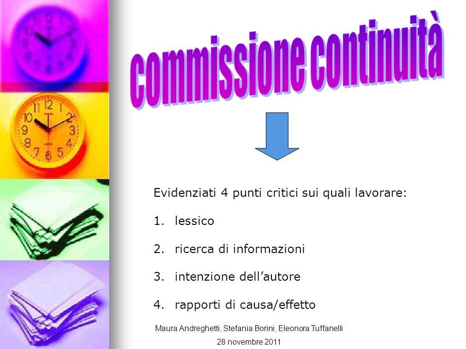 Evidenziati 4 punti critici sui quali lavorare: 1. lessico 2. ricerca di informazioni 3. intenzione dellautore 4. rapporti di causa/effetto Maura Andr