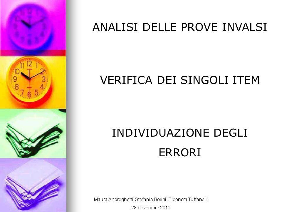 Dati i risultati delle prove ci siamo posti alcune domande: Maura Andreghetti, Stefania Borini, Eleonora Tuffanelli 28 novembre 2011
