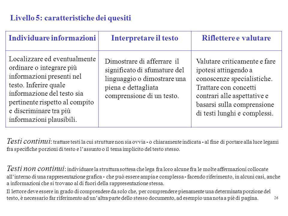 Livello 5: caratteristiche dei quesiti Individuare informazioniInterpretare il testoRiflettere e valutare Valutare criticamente e fare ipotesi attingendo a conoscenze specialistiche.