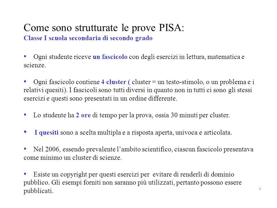 Come sono strutturate le prove PISA: Classe I scuola secondaria di secondo grado Ogni studente riceve un fascicolo con degli esercizi in lettura, matematica e scienze.