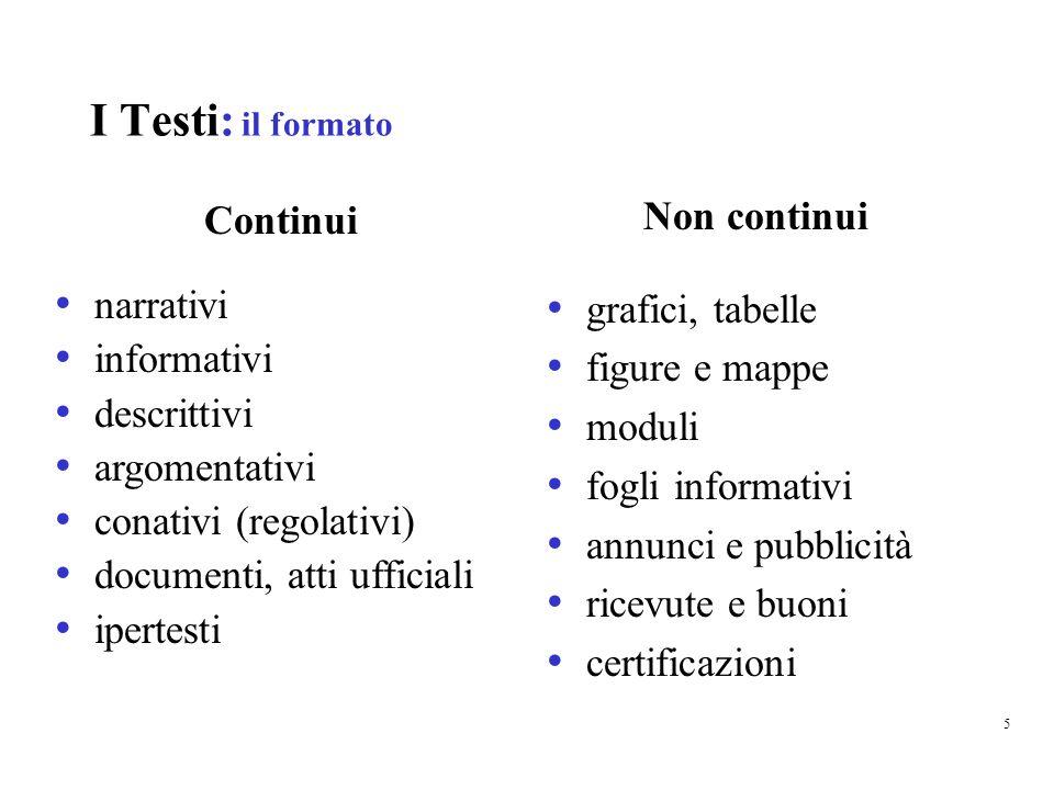 I Testi : situazioni e tipi di uso La rilevazione tiene conto anche della situazione di lettura, fondata sul tipo di uso per cui sono scritti i testi.