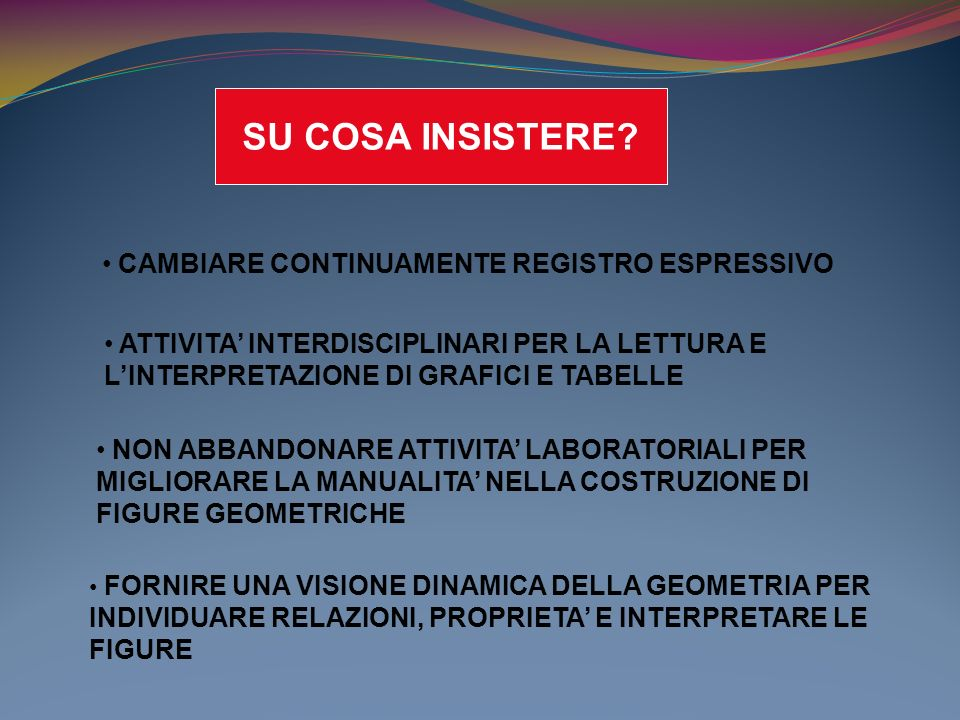 ACQUISIRE FORME TIPICHE DEL PENSIERO MATEMATICO DIFFICOLTA RISCONTRATE : ARGOMENTAZIONI FRETTOLOSE ATTRAVERSO LUTILIZZO DI DIMOSTRAZIONI NUMERICHE SPIEGAZIONI INCOERENTI CON LE SCELTE FATTE CONGETTURE INCOERENTI CON UNEVENTUALE VERIFICA DEL RISULTATO