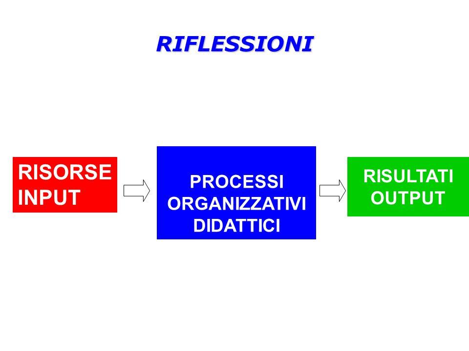 RIFLESSIONI PROCESSI ORGANIZZATIVI DIDATTICI RISORSE INPUT RISULTATI OUTPUT