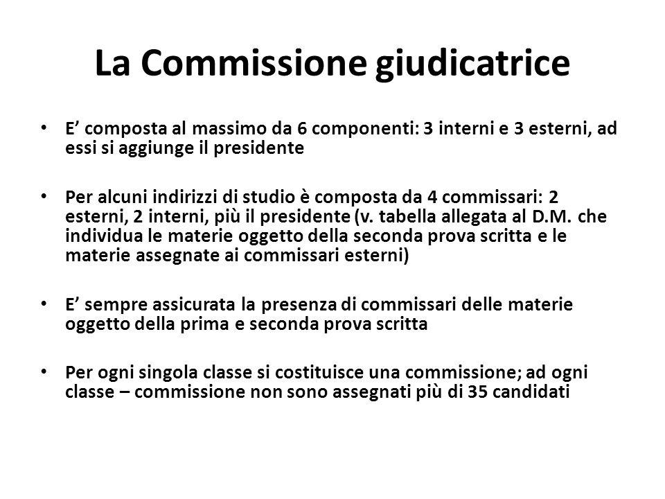 La Commissione giudicatrice E composta al massimo da 6 componenti: 3 interni e 3 esterni, ad essi si aggiunge il presidente Per alcuni indirizzi di studio è composta da 4 commissari: 2 esterni, 2 interni, più il presidente (v.