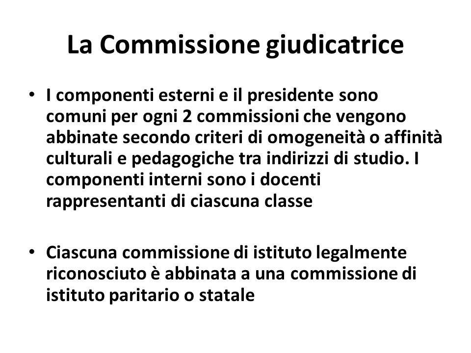 La Commissione giudicatrice I componenti esterni e il presidente sono comuni per ogni 2 commissioni che vengono abbinate secondo criteri di omogeneità o affinità culturali e pedagogiche tra indirizzi di studio.