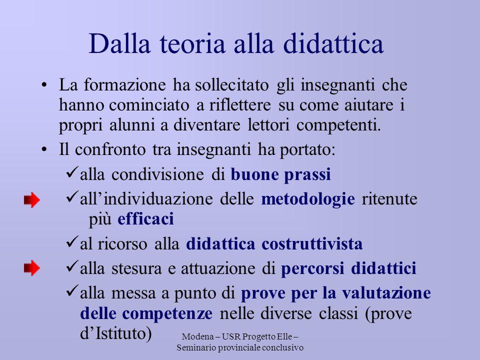 Modena – USR Progetto Elle – Seminario provinciale conclusivo Dalla teoria alla didattica La formazione ha sollecitato gli insegnanti che hanno cominciato a riflettere su come aiutare i propri alunni a diventare lettori competenti.