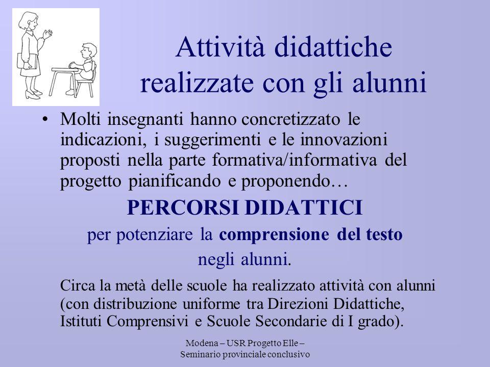 Modena – USR Progetto Elle – Seminario provinciale conclusivo ATTIVITÀ FASI DI LAVORO Restituzione dati DIARI DI BORDO
