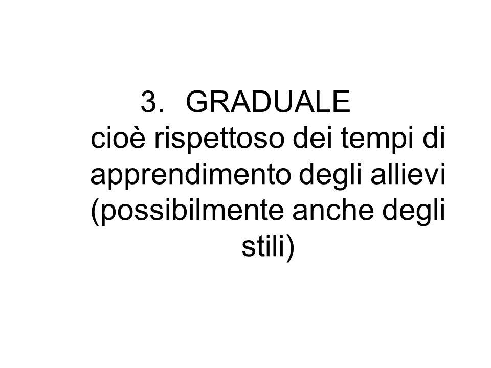 3.GRADUALE cioè rispettoso dei tempi di apprendimento degli allievi (possibilmente anche degli stili)