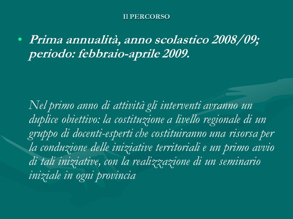 Il PERCORSO Prima annualità, anno scolastico 2008/09; periodo: febbraio-aprile 2009.