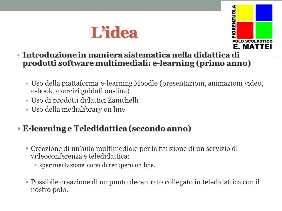 Lidea Introduzione in maniera sistematica nella didattica di prodotti software multimediali: e-learning (primo anno) Introduzione in maniera sistemati