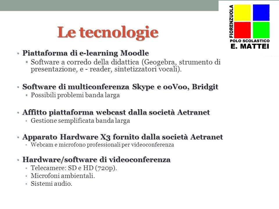 Le tecnologie Piattaforma di e-learning Moodle Piattaforma di e-learning Moodle Software a corredo della didattica (Geogebra, strumento di presentazione, e - reader, sintetizzatori vocali).