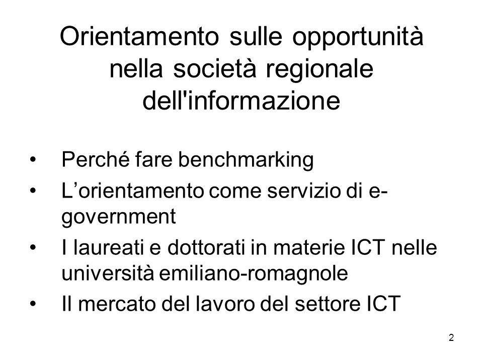 2 Orientamento sulle opportunità nella società regionale dell informazione Perché fare benchmarking Lorientamento come servizio di e- government I laureati e dottorati in materie ICT nelle università emiliano-romagnole Il mercato del lavoro del settore ICT