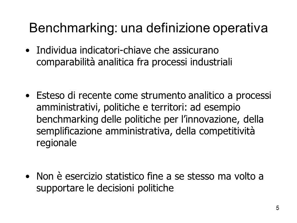 5 Benchmarking: una definizione operativa Individua indicatori-chiave che assicurano comparabilità analitica fra processi industriali Esteso di recent