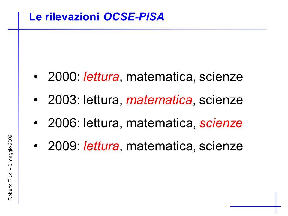 Roberto Ricci – 8 maggio 2009 Le rilevazioni OCSE-PISA 2000: lettura, matematica, scienze 2003: lettura, matematica, scienze 2006: lettura, matematica, scienze 2009: lettura, matematica, scienze