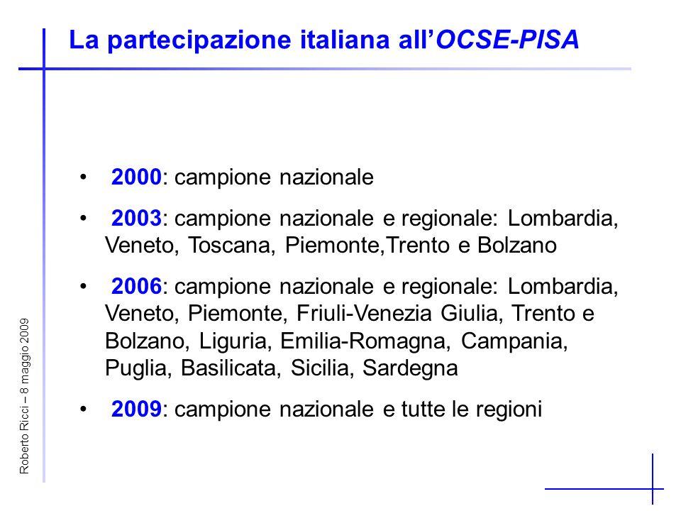 Le condizioni socio-economico-culturali Media5° percentile95° percentileDifferenza 0,17-1,401,803,20 Italia-0,07-1,581,663,24 OCSE0,00-2,001,473,47 Veneto0,00-1,461,653,11 Friuli-V.G.0,08-1,361,783,14 Trento-0,04-1,431,512,94 Bolzano-0,77-1,411,382,79 Lombardia-0,13-1,541,473,01 Piemonte0,10-1,521,793,31 Liguria0,17-1,491,863,35 Nord Ovest-0,03-1,541,593,13 Nord Est0,06-1,441,703,14 Centro0,11-1,351,723,07 Sud-0,18-1,661,673,33 Sud Isole-0,26-1,731,593,32 Roberto Ricci – 8 maggio 2009