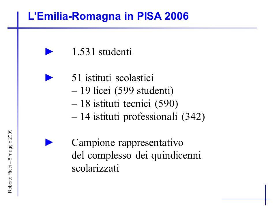 LEmilia-Romagna in PISA 2006 1.531 studenti51 istituti scolastici – 19 licei (599 studenti) – 18 istituti tecnici (590) – 14 istituti professionali (3