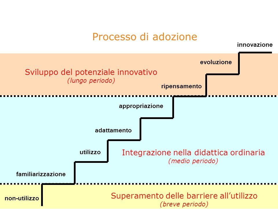 Processo di adozione Superamento delle barriere allutilizzo (breve periodo) Integrazione nella didattica ordinaria (medio periodo) Sviluppo del potenziale innovativo (lungo periodo) utilizzo evoluzione innovazione ripensamento familiarizzazione adattamento appropriazione non-utilizzo