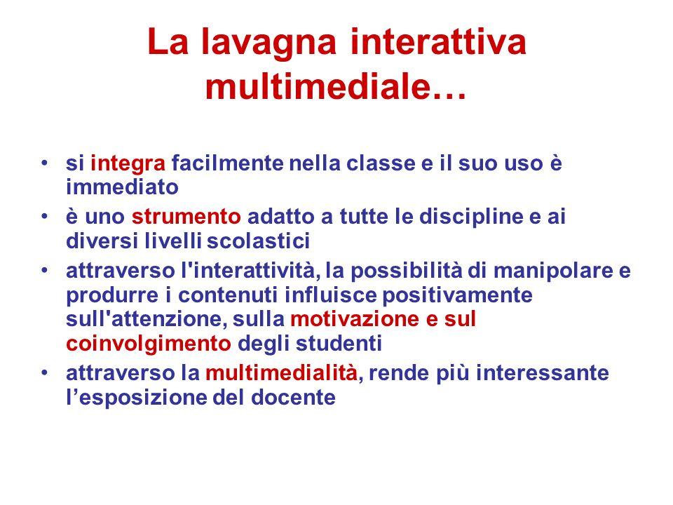 La lavagna interattiva multimediale… si integra facilmente nella classe e il suo uso è immediato è uno strumento adatto a tutte le discipline e ai div