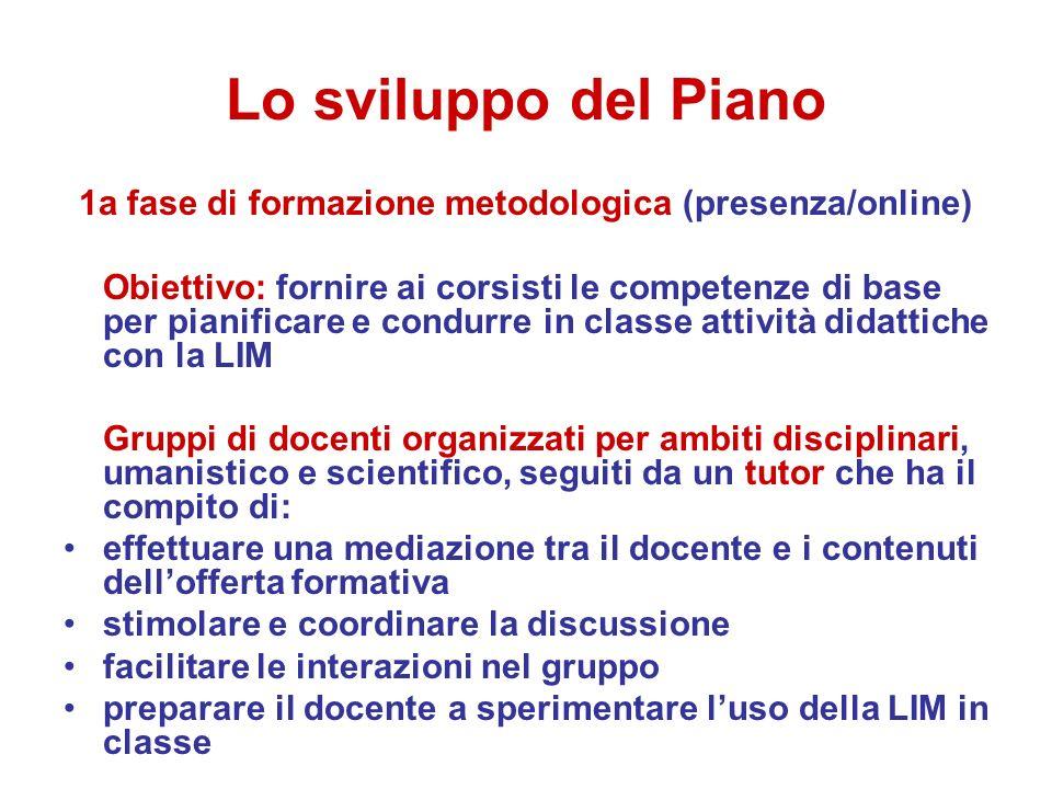 Lo sviluppo del Piano 1a fase di formazione metodologica (presenza/online) Obiettivo: fornire ai corsisti le competenze di base per pianificare e cond