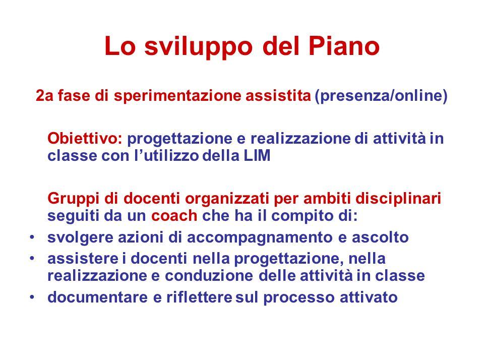 Lo sviluppo del Piano 2a fase di sperimentazione assistita (presenza/online) Obiettivo: progettazione e realizzazione di attività in classe con lutili