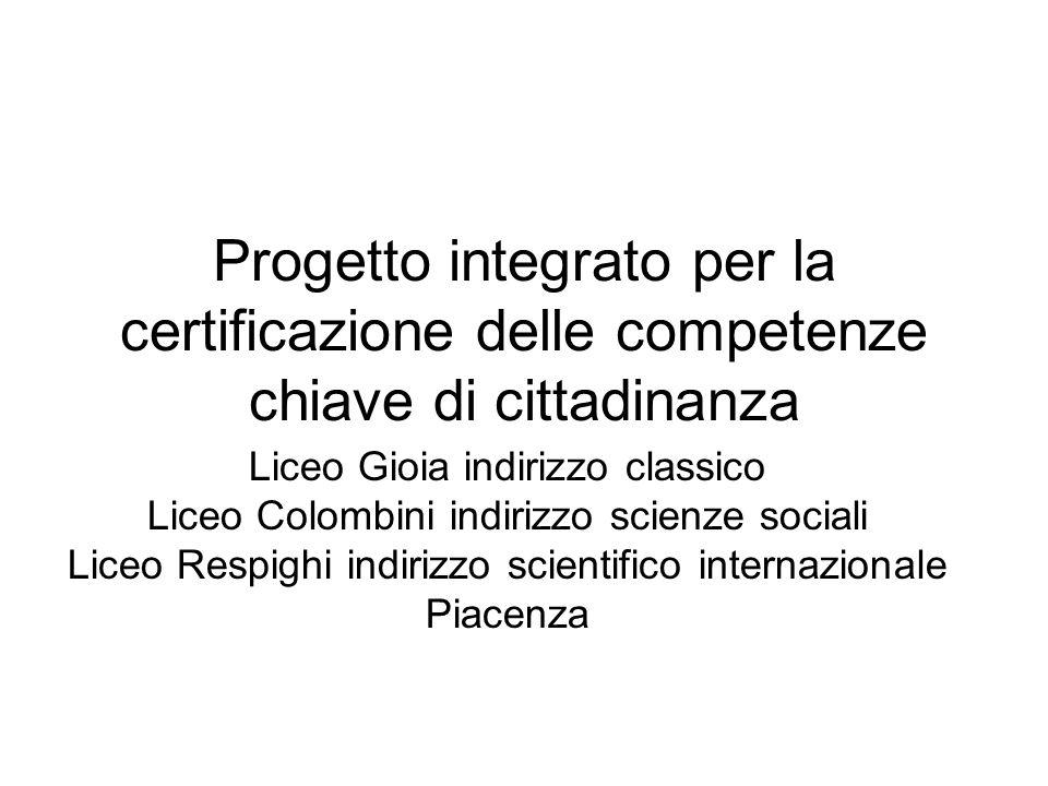 Progetto integrato per la certificazione delle competenze chiave di cittadinanza Liceo Gioia indirizzo classico Liceo Colombini indirizzo scienze soci