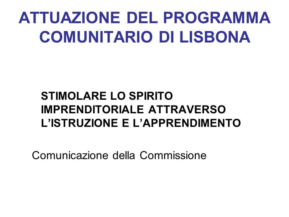 ATTUAZIONE DEL PROGRAMMA COMUNITARIO DI LISBONA STIMOLARE LO SPIRITO IMPRENDITORIALE ATTRAVERSO LISTRUZIONE E LAPPRENDIMENTO Comunicazione della Commi