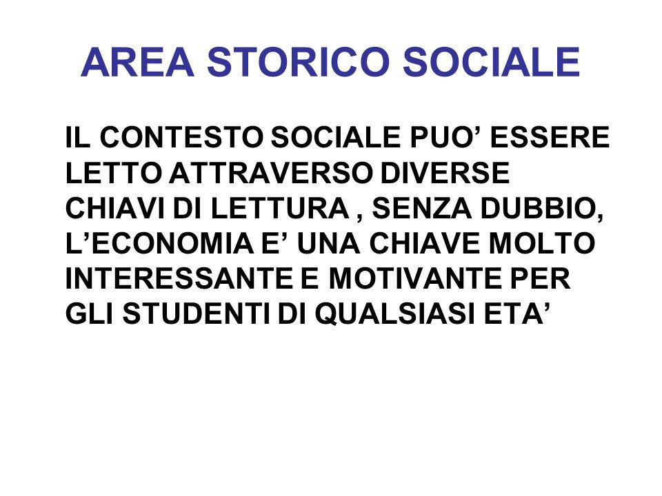 AREA STORICO SOCIALE IL CONTESTO SOCIALE PUO ESSERE LETTO ATTRAVERSO DIVERSE CHIAVI DI LETTURA, SENZA DUBBIO, LECONOMIA E UNA CHIAVE MOLTO INTERESSANT
