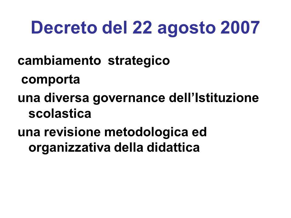 Decreto del 22 agosto 2007 cambiamento strategico comporta una diversa governance dellIstituzione scolastica una revisione metodologica ed organizzati