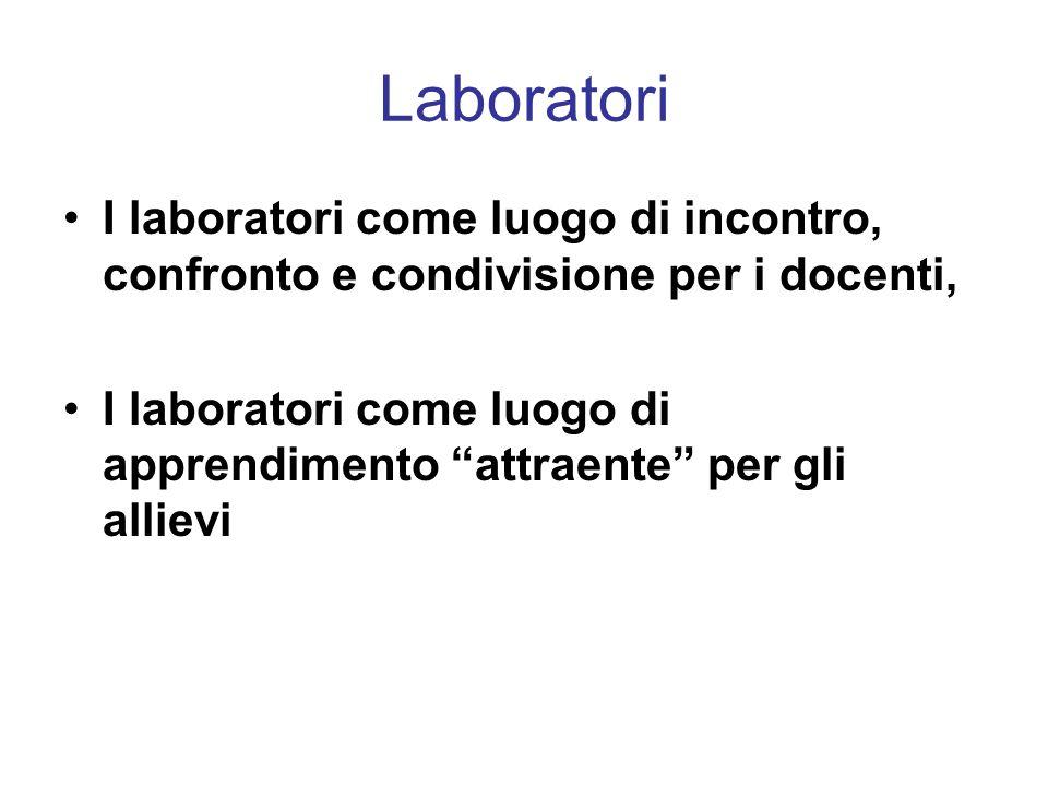 Laboratori I laboratori come luogo di incontro, confronto e condivisione per i docenti, I laboratori come luogo di apprendimento attraente per gli all