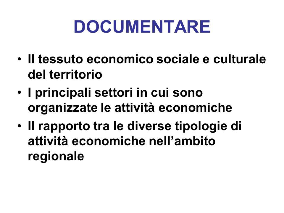 DOCUMENTARE Il tessuto economico sociale e culturale del territorio I principali settori in cui sono organizzate le attività economiche Il rapporto tr