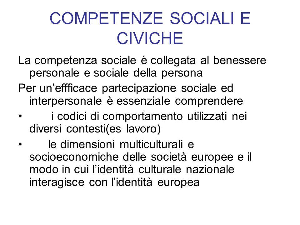 COMPETENZE SOCIALI E CIVICHE La competenza sociale è collegata al benessere personale e sociale della persona Per uneffficace partecipazione sociale e