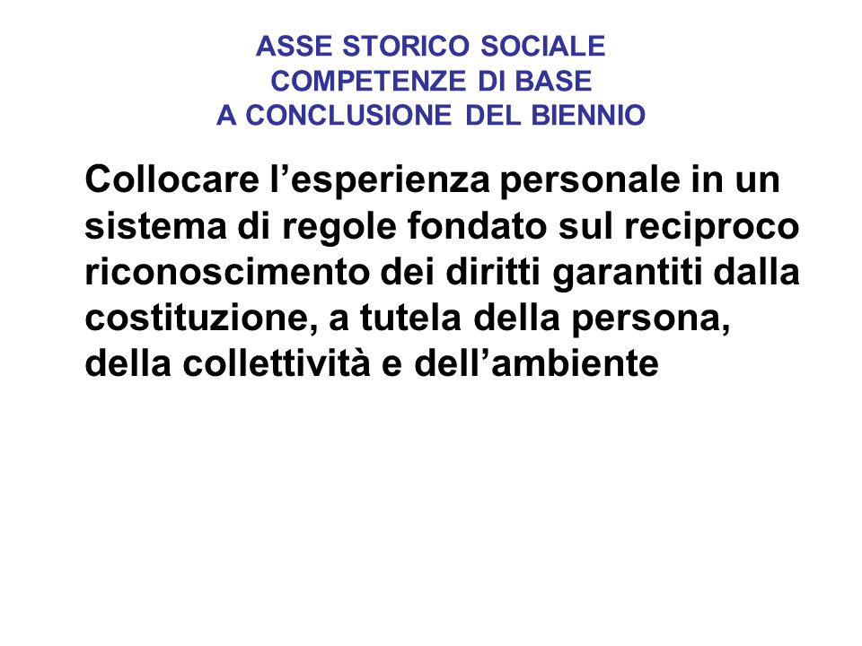 ASSE STORICO SOCIALE COMPETENZE DI BASE A CONCLUSIONE DEL BIENNIO Collocare lesperienza personale in un sistema di regole fondato sul reciproco ricono