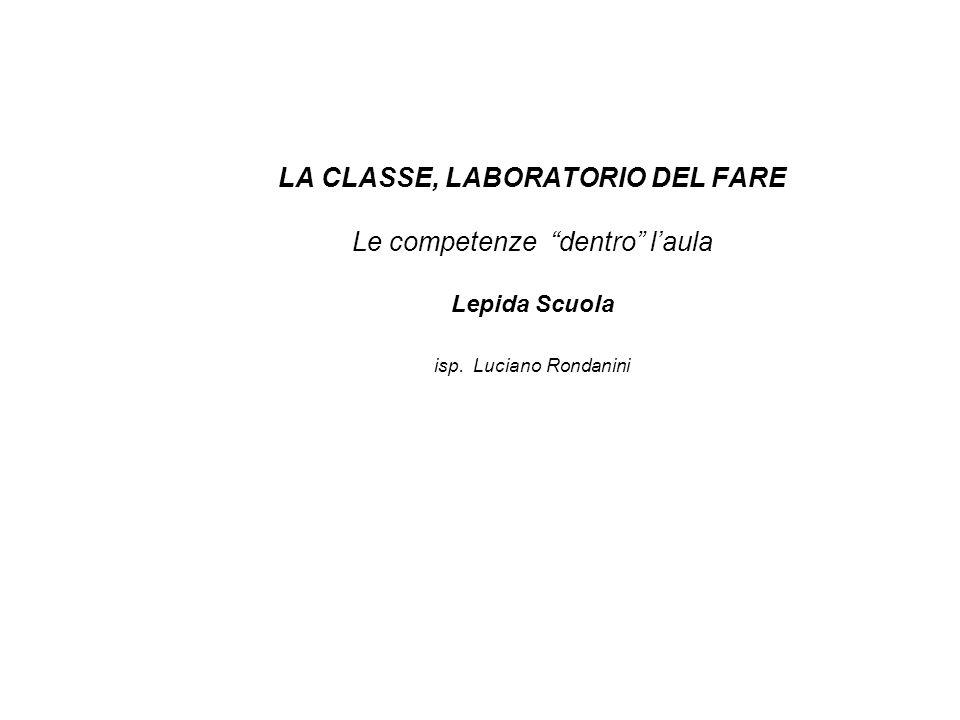 LA CLASSE, LABORATORIO DEL FARE Le competenze dentro laula Lepida Scuola isp. Luciano Rondanini