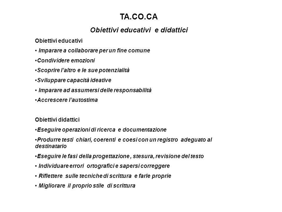 TA.CO.CA Obiettivi educativi e didattici Obiettivi educativi Imparare a collaborare per un fine comune Condividere emozioni Scoprire laltro e le sue p