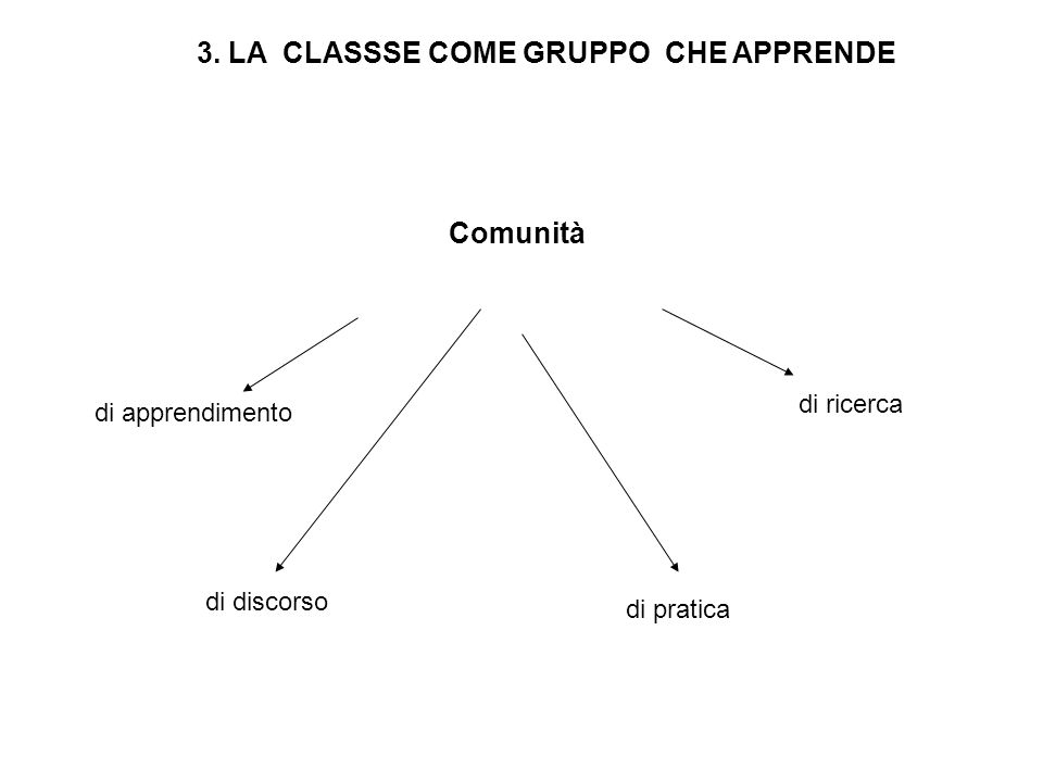 3. LA CLASSSE COME GRUPPO CHE APPRENDE Comunità di apprendimento di discorso di pratica di ricerca