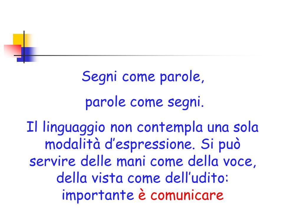 Segni come parole, parole come segni. Il linguaggio non contempla una sola modalità despressione. Si può servire delle mani come della voce, della vis