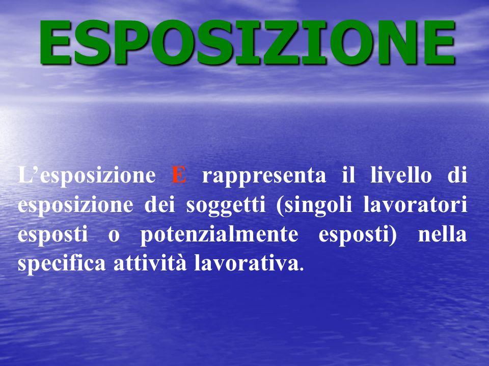 Lesposizione E rappresenta il livello di esposizione dei soggetti (singoli lavoratori esposti o potenzialmente esposti) nella specifica attività lavor