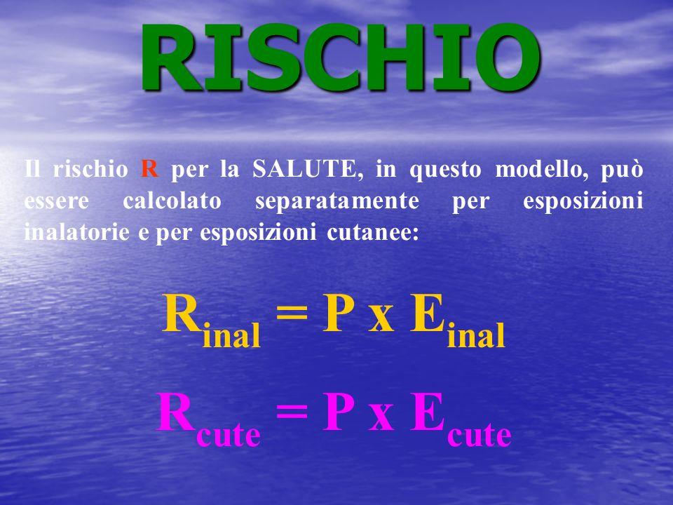 Il rischio R per la SALUTE, in questo modello, può essere calcolato separatamente per esposizioni inalatorie e per esposizioni cutanee: R inal = P x E