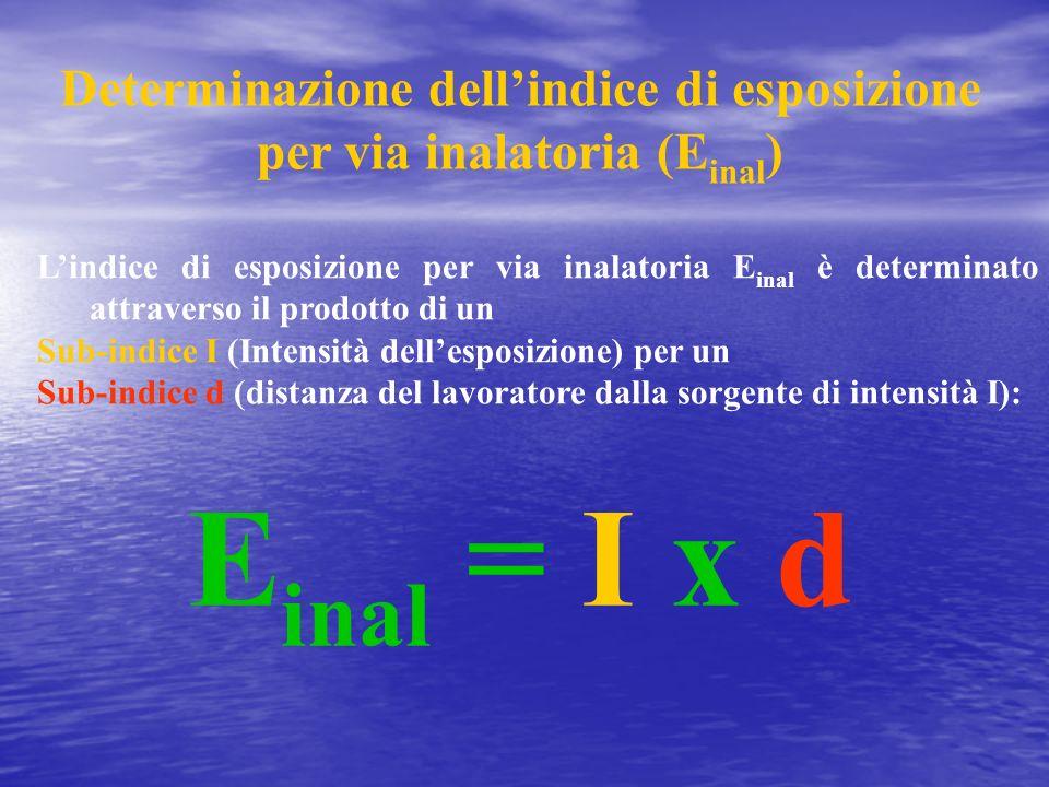 Determinazione dellindice di esposizione per via inalatoria (E inal ) E inal = I x d Lindice di esposizione per via inalatoria E inal è determinato at