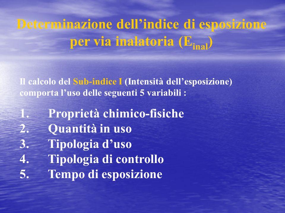 Determinazione dellindice di esposizione per via inalatoria (E inal ) 1. Proprietà chimico-fisiche 2. Quantità in uso 3. Tipologia duso 4. Tipologia d