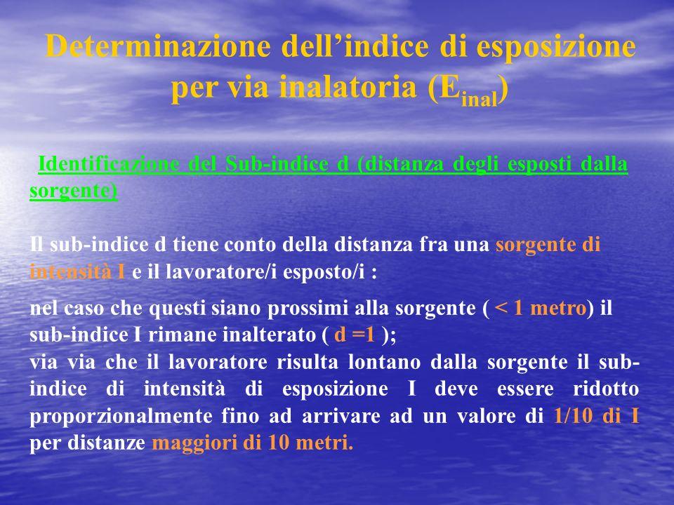 Determinazione dellindice di esposizione per via inalatoria (E inal ) nel caso che questi siano prossimi alla sorgente ( < 1 metro) il sub-indice I ri