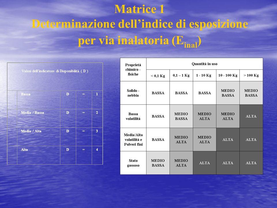 Matrice 1 Determinazione dellindice di esposizione per via inalatoria (E inal ) Valori dellindicatore di Disponibilità ( D ) BassaD=1 Medio / BassaD=2