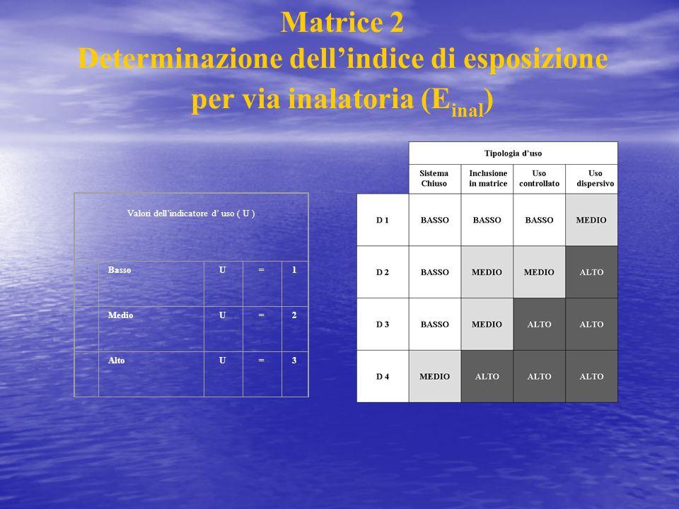Matrice 2 Determinazione dellindice di esposizione per via inalatoria (E inal ) Valori dellindicatore d uso ( U ) BassoU=1 MedioU=2 AltoU=3